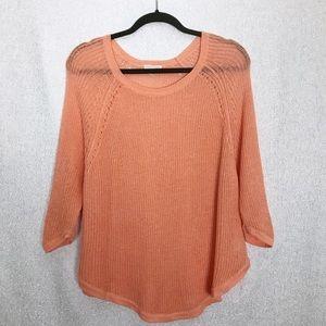 Eileen Fisher Open Knit Linen Crew Neck Sweater XL